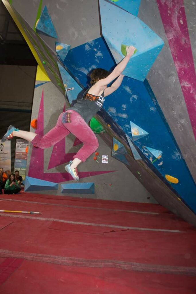 CF patient on climbing wall